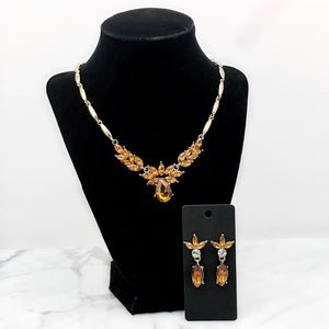 Simulated Topaz Crystal Necklace Set